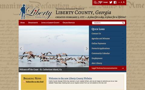 Screenshot of Home Page libertycountyga.com - Home / Liberty County, Georgia - captured Oct. 2, 2014