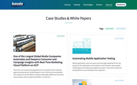 Screenshot of Case Studies Page kandasoft.com - Case Studies and White Papers | Kanda Software: Custom Software Development Services - captured Nov. 19, 2019