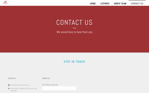 Screenshot of Contact Page nickpavlov.com - Contact Us – Nick Pavlov Real Estate - captured Oct. 23, 2018