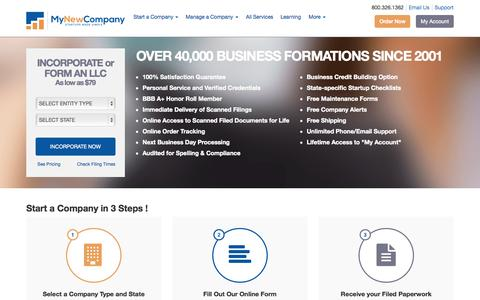 Screenshot of Home Page mynewcompany.com - Form an LLC Online | Incorporate | Start a Company | MyNewCompany.com - captured Oct. 2, 2015