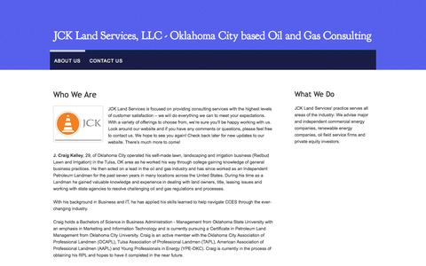 Screenshot of About Page webs.com - JCK Land Services LLC - Oil and Gas Consulting - captured Sept. 13, 2014