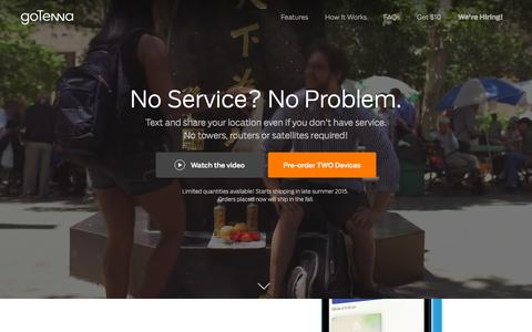 Screenshot of Home Page gotenna.com - goTenna | No service? No problem. - captured Sept. 17, 2015