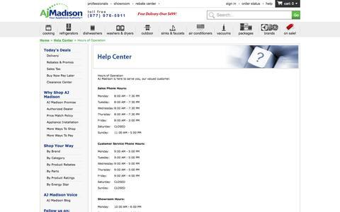 Screenshot of Hours Page ajmadison.com - Hours of Operation - captured July 23, 2016