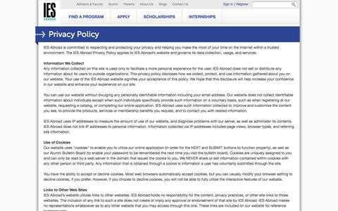 Screenshot of Privacy Page iesabroad.org - Privacy Policy | IES Abroad | Study Abroad - captured May 10, 2017