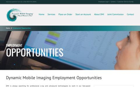 Screenshot of Jobs Page dynamicmobileimaging.com - Employment Opportunities | Dynamic Mobile Imaging - captured June 15, 2019