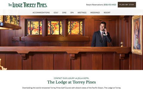 Screenshot of Contact Page lodgetorreypines.com - Contact Us | Lodge Torrey Pines - captured Oct. 31, 2017