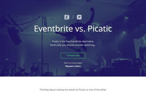 Screenshot of Landing Page picatic.com - Eventbrite Alternative | Picatic - captured Oct. 20, 2016