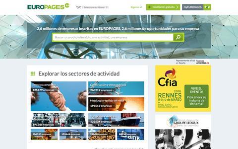 Screenshot of Home Page europages.es - Buscar empresas, productos y servicios B-to-B a escala internacional - EUROPAGES - captured Feb. 9, 2016