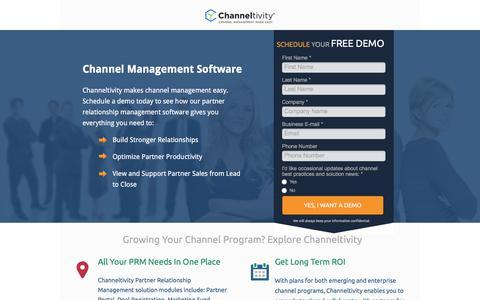 Screenshot of Landing Page channeltivity.com - Channeltivity Channel Management Software - captured Sept. 19, 2018