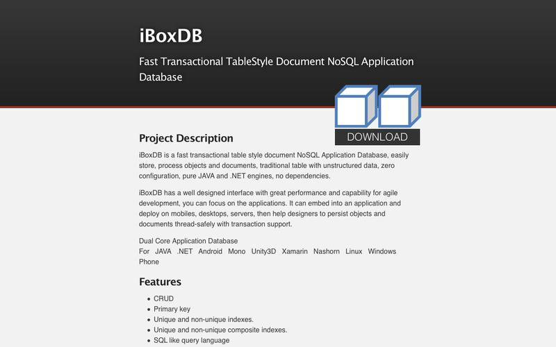 Web Design Example | A page on iboxdb com | Crayon