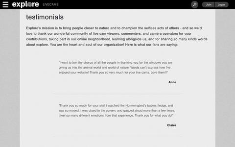 Screenshot of Testimonials Page explore.org - Explore.org - captured Dec. 8, 2018