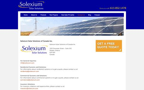 Screenshot of Contact Page solexium.com - Contact Us - Solexium Solar Solutions - captured Oct. 7, 2014