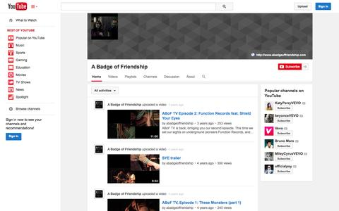 Screenshot of YouTube Page youtube.com - A Badge of Friendship  - YouTube - captured Oct. 22, 2014