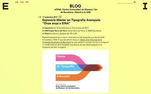 Screenshot of Blog eina.cat - Blog d'EINA - captured Sept. 19, 2014