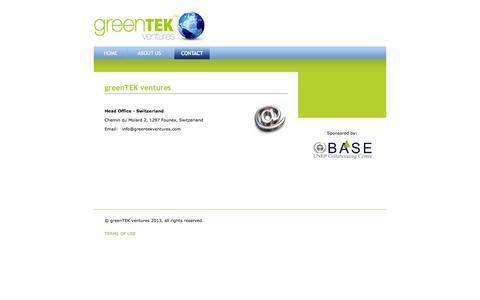 Screenshot of Contact Page greentekventures.com - greenTEK ventures: Contact - captured Sept. 30, 2014