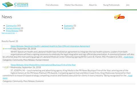 Screenshot of Press Page cornerstonechamber.com - News - Cornerstone Chamber of Commerce     › - captured Sept. 29, 2018
