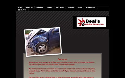 Screenshot of Services Page bealscc.com - Services - captured Oct. 5, 2014