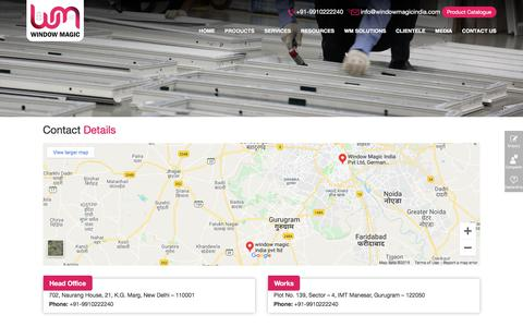 Screenshot of Contact Page windowmagicindia.com - uPVC Doors and Windows Manufacturers Suppliers Dealers in Gurgaon Noida NCR Ludhiana - captured Sept. 22, 2019