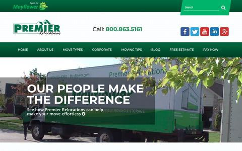 Screenshot of Home Page premier-mayflower.com - Professional Movers in Michigan   Premier Relocations - captured Sept. 29, 2018