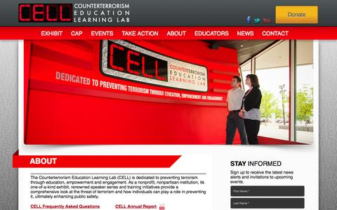 Screenshot of About Page thecell.org - About - Counterterrorism Education Learning Lab | CELLCounterterrorism Education Learning Lab | CELL - captured Oct. 3, 2014