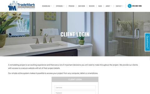 Screenshot of Login Page trademarkconstruct.com - Client Login for TradeMark Construction of Baltimore MD - captured Nov. 9, 2017