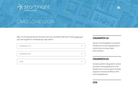 Screenshot of Login Page starbright.se - Cargo Care Login   Starbright Consulting - captured Oct. 7, 2014
