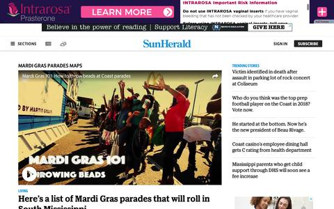 Screenshot of Maps & Directions Page sunherald.com - Mardi Gras Parades Maps | The Sun Herald - captured Dec. 7, 2018