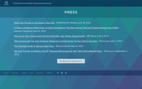 Screenshot of Press Page mitro.co - Mitro | The easiest way to save and share passwords - captured April 8, 2018