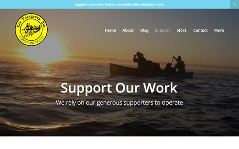 Screenshot of Support Page les-voyageurs.org - Support Our Work — Les Voyageurs Inc - captured Aug. 1, 2017