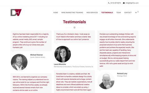 Screenshot of Testimonials Page digivino.com - APPLAUSE - DigiVino - captured Aug. 7, 2018