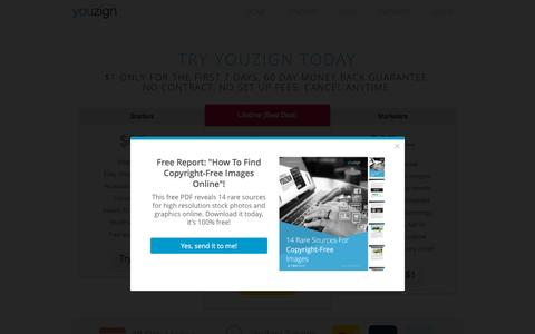 Screenshot of Pricing Page youzign.com - Pricing � Youzign - captured Dec. 3, 2015
