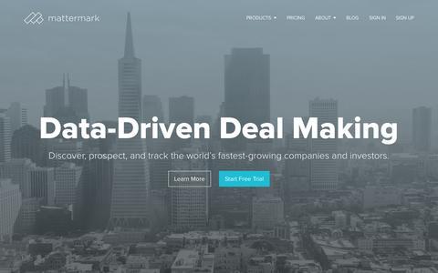 Screenshot of Home Page mattermark.com - Mattermark | Big Data Meets Deal Making - captured Oct. 24, 2015
