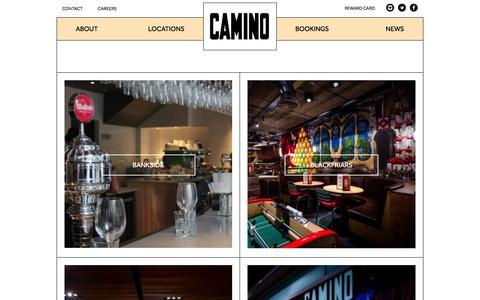 Screenshot of About Page Locations Page camino.uk.com - Camino | Spanish Tapas Restaurants Bars in London | Restaurants | Camino - captured Jan. 17, 2016