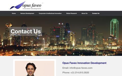 Screenshot of Contact Page opus-faveo.com - Contact Us | Opus Faveo Innovation Development - captured Oct. 19, 2018