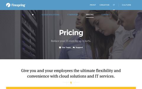 Screenshot of Pricing Page firespring.com - Firespring | Pricing | IT Services & Cloud Solutions for Small Businesses & Nonprofits - captured Nov. 20, 2015