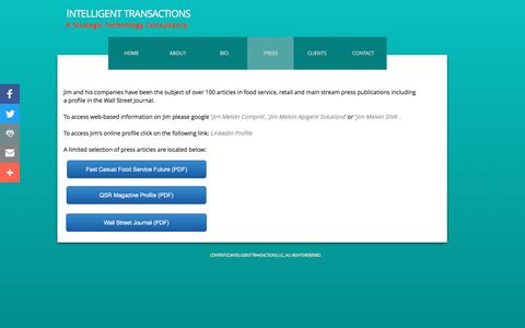 Screenshot of Press Page intelligenttransactions.com - Press - captured June 7, 2017