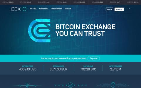 Screenshot of Home Page cex.io - Bitcoin Exchange | Bitcoin Trading - CEX.IO - captured March 28, 2019