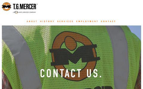 Screenshot of Contact Page tgmercer.com - T.G. Mercer - captured Oct. 18, 2018