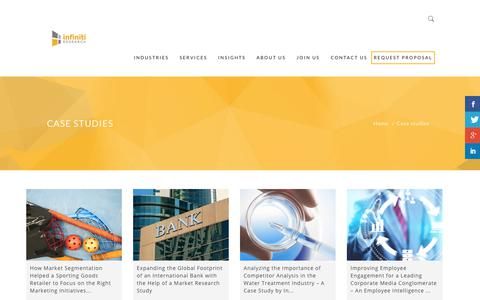 Screenshot of Case Studies Page infinitiresearch.com - Case studies - Business Intelligence - captured Oct. 22, 2018