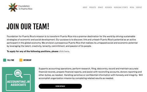 Screenshot of Jobs Page foundationforpuertorico.org - Careers —  Foundation for PR - captured Aug. 20, 2018