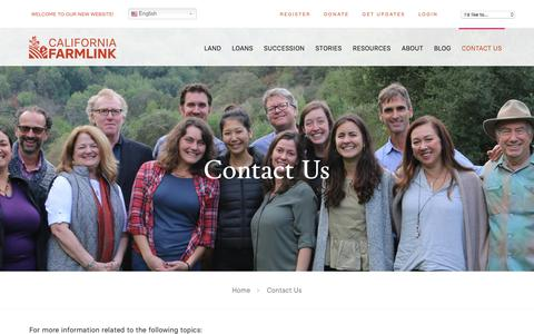 Screenshot of Contact Page californiafarmlink.org - Contact Us - California FarmLink - captured July 15, 2018