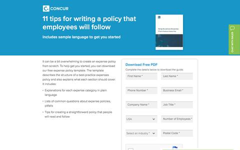 Screenshot of Landing Page concur.com - 11 tips for writing a policy that employees will follow - Concur - captured Sept. 29, 2017