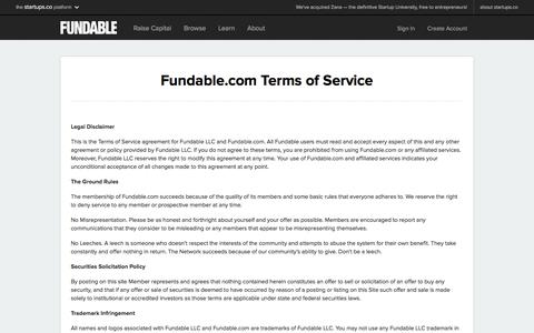 Terms of Service | Fundable