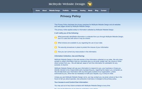 Screenshot of Privacy Page mcbryde.com - Professional Website Design and Hosting Company in Mooresville NC - captured Oct. 4, 2014