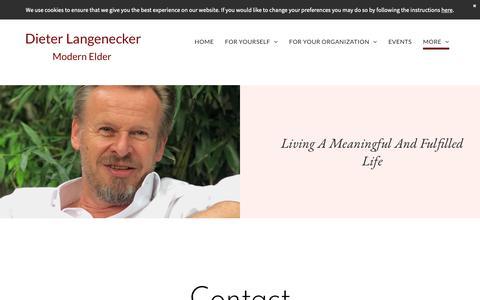 Screenshot of Contact Page langenecker.com - Contact - Dieter Langenecker, Purpose Counselor, Life Mentor, Keynote Speaker - captured Oct. 9, 2018