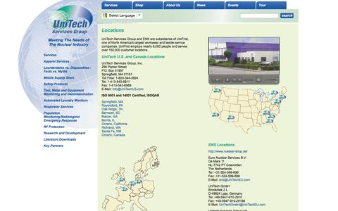 Screenshot of Locations Page unitechus.com - UniTech - About Us - Locations - Protective Clothing, Safety Products, Supply Store - captured Oct. 1, 2014