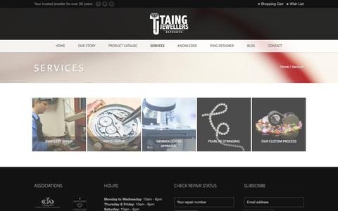Screenshot of Services Page taingjewellers.com - Services   Taing Jewellers - captured Jan. 10, 2016