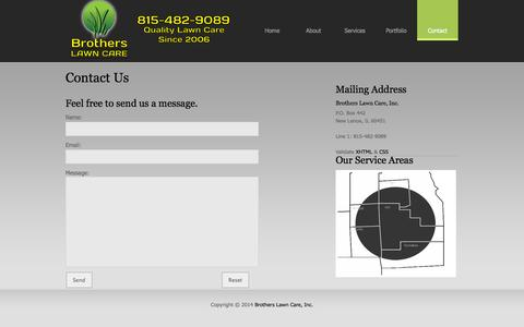 Screenshot of Contact Page brotherslawncare.net - Brothers Lawn Care - captured Sept. 30, 2014