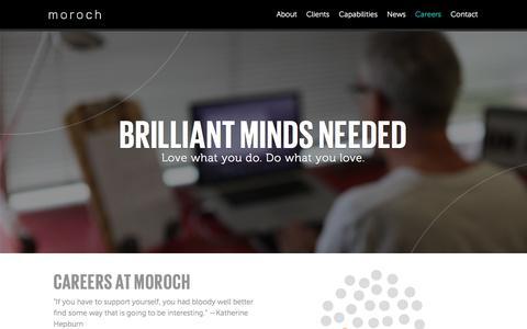 Screenshot of Jobs Page moroch.com - Careers | Moroch - captured Feb. 24, 2016