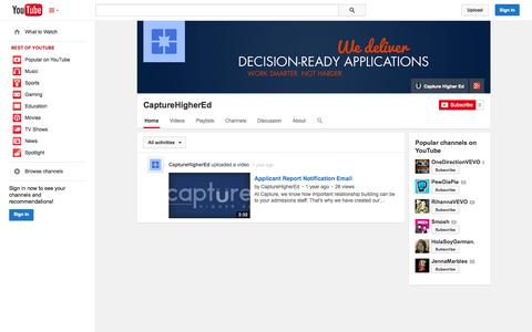 Screenshot of YouTube Page youtube.com - CaptureHigherEd  - YouTube - captured Oct. 22, 2014